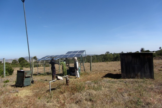 The borehole with solar panels
